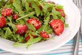 Salad with strawberry plate of herbs and Stock Images