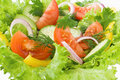 Salad from tomato, cucumber and lettuce Royalty Free Stock Photo