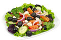 Salad,  tomato, olives and mozzarella Royalty Free Stock Photo