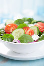 Salad with tomatoes cucumber and goat cheese Stock Photo