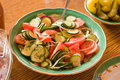 Salad from tomatoes and cucumbers. Royalty Free Stock Photography
