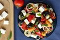 Salad with tomatoes feta chees apricots and olives Stock Photography