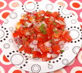 Salad of tomatoes a with onions Royalty Free Stock Images