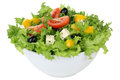 Salad with tomatoes, paprika and olives in bowl isolated Royalty Free Stock Photo