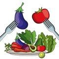Salad vegetables eating food fork plate