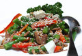 Salad from vegetables with meat and a sesame Stock Photos
