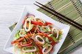 Salad with vegetables and seafood closeup horizontal top view Royalty Free Stock Photo