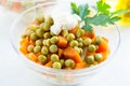 Salad vegetarian with canned peas and vegetables Stock Photos