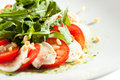 Salade de caprese avec rocket salad Photos libres de droits