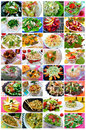 Salads collage collection selection of and appetizers Royalty Free Stock Image