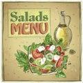 Salads menu design, vintage illustration