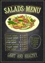 Salads menu list chalkboard design with vegetables and meat salad
