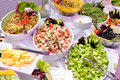 Salads on the party colorful Stock Image