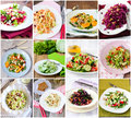 Salads twelve different served collage Stock Photo