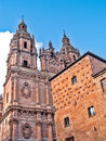 Salamanca landmarks cathedral and shell house december december casa de las conchas renaissance construction of by arias de Royalty Free Stock Photos
