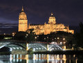 Salamanca skyline at night in Enrique Estevan bridge over Tormes River Royalty Free Stock Photo