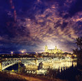 Salamanca sunset in Enrique Estevan bridge Royalty Free Stock Photo