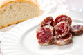 Salami italien avec du pain Photo libre de droits