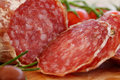 Salami macro italian gourmet food Stock Photos