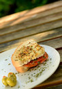 Salami sandwich in summer on wood table outdoors Royalty Free Stock Photos