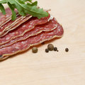 Salami sausage - gourmet background Stock Photo