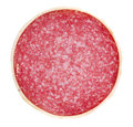 Salami sausage slice isolated on a white background Royalty Free Stock Photo