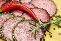 Salami sausage sliced with different flavors on board Royalty Free Stock Photo