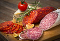 Salami sausage on the table Royalty Free Stock Images