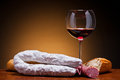 Salami sausages and wine Stock Photo