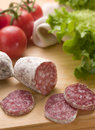 Salami slices of with tomatoes and green salad Stock Photography