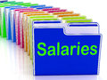 Salaries Folders Show Paying Employees And Remuneration Royalty Free Stock Photo