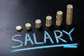 Salary Concept With Stacked Coin On Blackboard Royalty Free Stock Photo