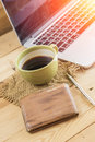 salary man wake up morning with coffee, work at home concept. Royalty Free Stock Photo