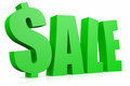 SALE 3D text. Dollar sign replacing S letter. Stock Image