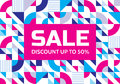 Sale - abstract geometric banner. Discount up to 50%. Vector background concept illustration. Design layout Royalty Free Stock Photo
