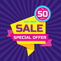 Sale abstract vector origami banner - special offer 50% off. Sale vector banner. Sale abstract background. Royalty Free Stock Photo