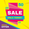 Sale abstract vector origami banner - special offer 50% off. Sale vector banner. Sale abstract background. Super big sale design l Royalty Free Stock Photo