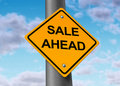 Sale ahead street sign customers shopping symbol Royalty Free Stock Photo