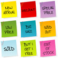 Sale announcements, set of post it Stock Images