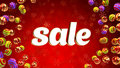 Sale on background with christmas ornaments word red and Stock Image