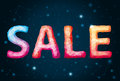 Sale on the background star sky Royalty Free Stock Photography