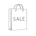 Sale bag icon sketch vector illustration in doodle style this is file of eps format Royalty Free Stock Photo