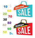 Sale bag icons with number percent for midnight and mid year Stock Photos