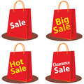 Sale bags illustrations of red shopping Stock Photography