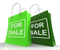 For sale bags represent retail selling and offers representing Stock Photography