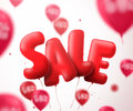 Sale balloon text vector banner design. Flying red sale shape