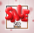 Sale balloons red 3D text hanging in white square background vector banner