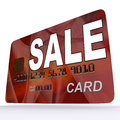 Sale bank card shows retail bargains and discounts showing Royalty Free Stock Images