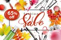 Sale banner with autumn leaves, cosmetics and Rowan berries. Vector Royalty Free Stock Photo