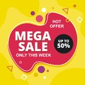 Sale Banner - Label Template with flat Design Royalty Free Stock Photo